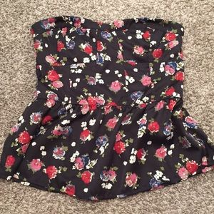 American Eagle floral strapless top
